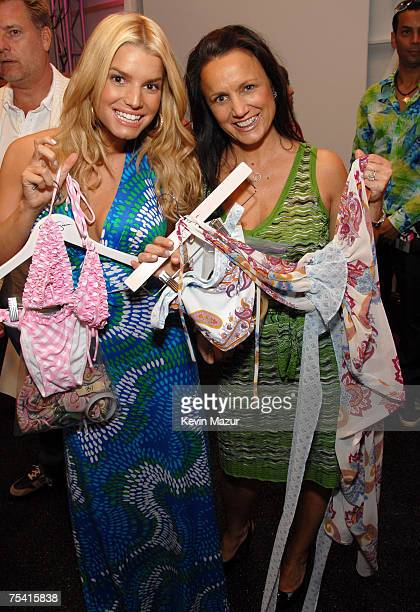 Musician/Designer Jessica Simpson and Tina Simpson backstage before her Swim Show at the Raleigh Hotel on July 14, 2007 in Miami Beach, Florida.