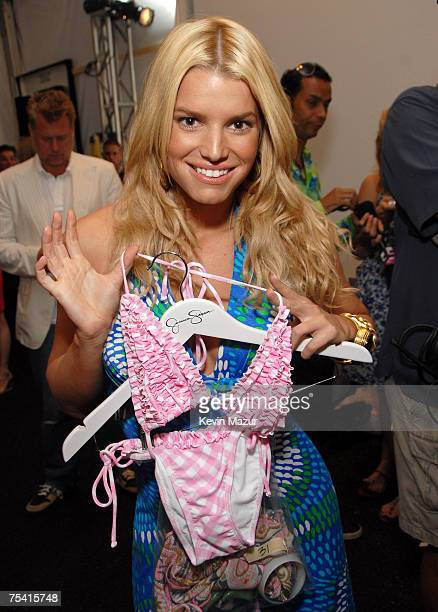 Musician/Designer Jessica Simpson backstage before her Swim Show at the Raleigh Hotel on July 14, 2007 in Miami Beach, Florida.