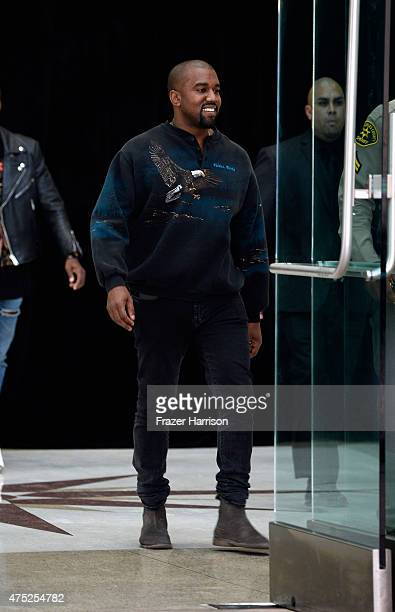 Musician/designer Kanye West attends the Gold Thimble Fashion Show at the Los Angeles TradeTechnical College on May 29 2015 in Los Angeles California