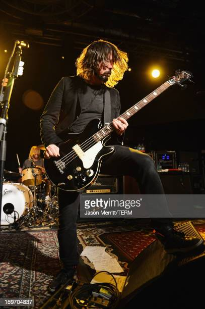 Musician/Director Dave Grohl performs onstage at the Sound City Players debut at Sundance Film Festival at Park City Live on January 18 2013 in Park...