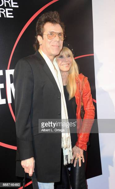 Musician/exhusband Slim Jim Phantom and actress Britt Ekland arrive for the Premiere Of And The Winner Isn't at Laemmle Music Hall on December 8 2017...