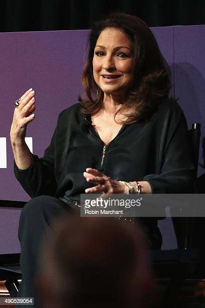 MusicianGloria Estefan speaks onstage at the Get On Your Feet panel during Advertising Week 2015 AWXII at the Hard Rock Cafe New York on September 29...