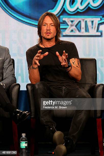 Musician/judge Keith Urban speaks onstage during the 'American Idol' panel discussion at the FOX portion of the 2015 Winter TCA Tour at the Langham...