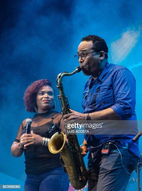 Musicianof 4 in Tone perform during the Jazz Festival in Santa Cruz de Mompox Department of Bolivar September 23 2017 the Colombian town on the banks...