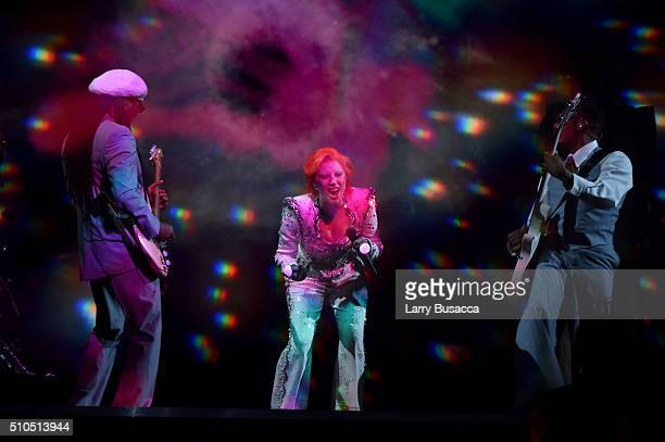 Musician/producer Nile Rodgers and singer Lady Gaga perform a tribute to the late David Bowie onstage during The 58th GRAMMY Awards at Staples Center...