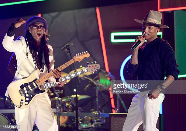 Musicianproducers Nile Rodgers and Pharrell Williams perform onstage during the 56th GRAMMY Awards at Staples Center on January 26 2014 in Los...