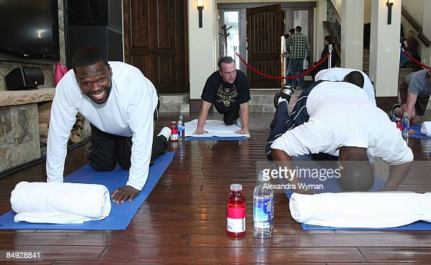 Musician/producer/writer Curtis '50 Cent' Jackson actor/producer Tom Arnold and actor/producer Mekhi Phifer during the 50 Cent Workout Episode at the...