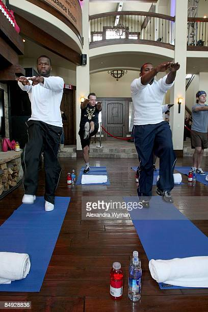 Musician/producer/writer Curtis '50 Cent' Jackson and actor/producer Mekhi Phifer during the 50 Cent Workout Episode at the vitaminwater House on...