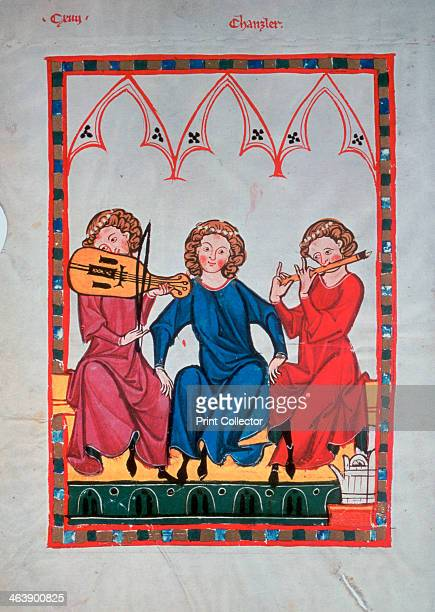 Musicians 13041340 Illustration from the Manesse Codex or Grosse Heidelberger Liederhandschrift University of Heidelberg Library
