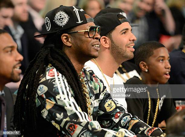 Musicians 2 Chainz and Drake attend the State Farm AllStar Saturday Night during the NBA AllStar Weekend 2014 at The Smoothie King Center on February...