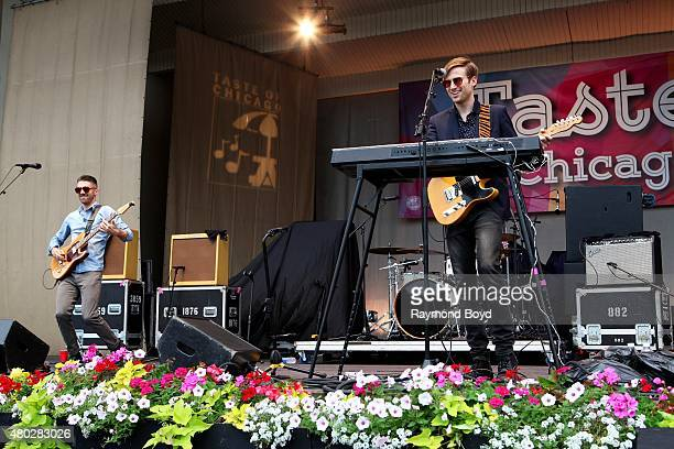 Musicians Aaron Sharp and AJ Jackson from Saint Motel performs at the Petrillo Music Shell during the 35th Annual 'Taste Of Chicago' on July 08 2015...