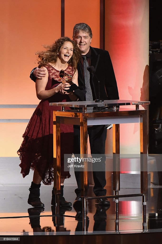 Musicians Abigail Washburn (L) and Bela Fleck accept the award for Best Folk Ablum for 'Bela Fleck and Abigail Washburn' onstage during The 58th GRAMMY Premiere Ceremony at Los Angeles Convention Center on February 15, 2016 in Los Angeles, California.