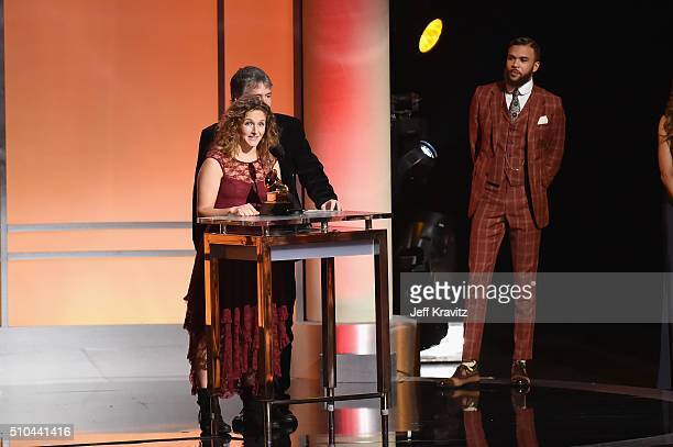 Musicians Abigail Washburn and Bela Fleck accept the award for Best Folk Ablum for 'Bela Fleck and Abigail Washburn' alongside singer/producer...