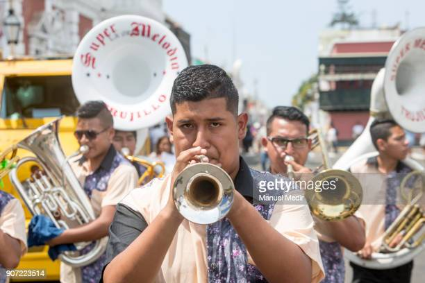 Musicians accompany the procession of the Virgen del Carmen to the Trujillo Cathedral during Pope Francis 4day apostolic visit to Peru on January 19...