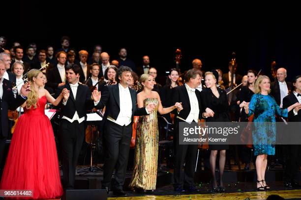 Musicians acknowledge the applause of the audience during the LIFE Celebration Concert at Burgtheater on June 1 2018 in Vienna Austria The concert...