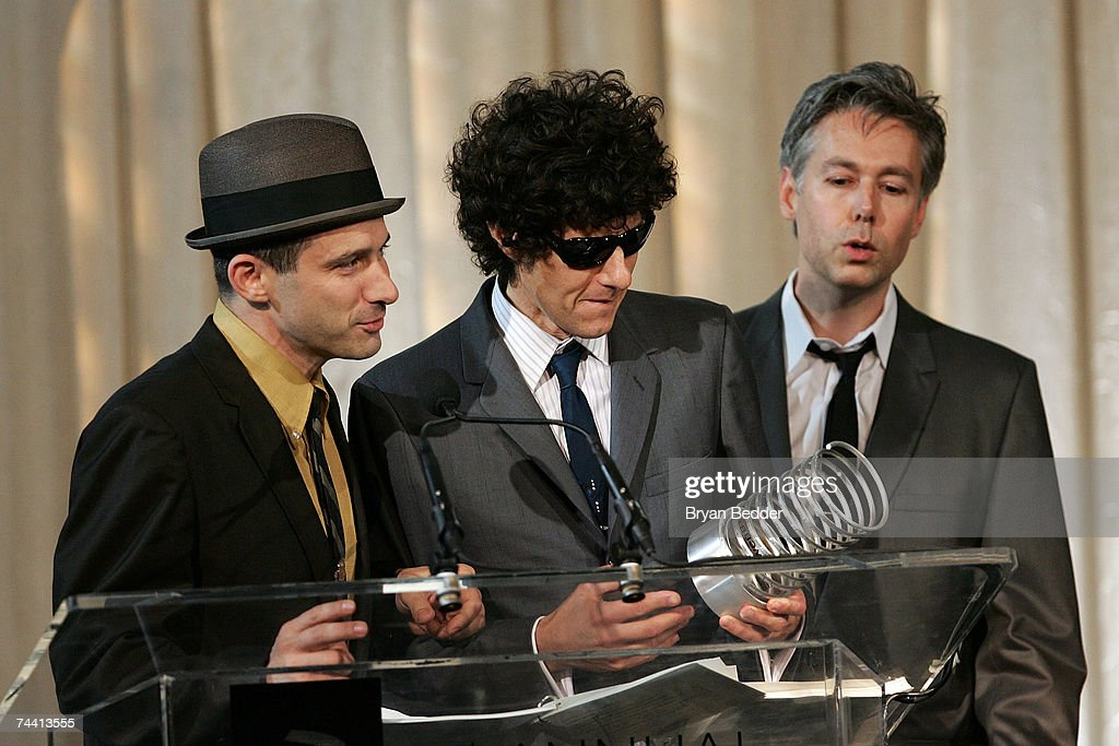 Musicians Adam Horovitz, Mike Diamond and Adam Yauch of the Beasty Boys speak onstage while receiving the Webby Artist of the Year at the 11th Annual Webby Awards at Chipriani Wall Street on June 5, 2007 in New York City.