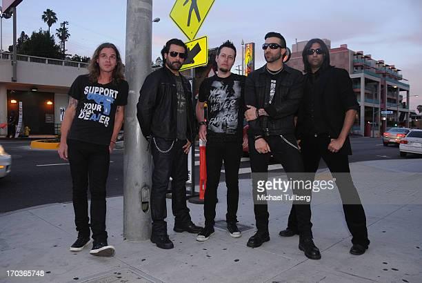 Musicians Adam Latiff Alex Sassaris Luis Espaillat Taki Sassaris and Gaurav Bali of the rock group Eve To Adam pose in front of at The Roxy Theatre...