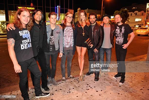 Musicians Adam Latiff Gaurav Bali guest guest model Courtney Bingham musician Alex Sassaris guest and musician Luis Espaillat of the rock group Eve...