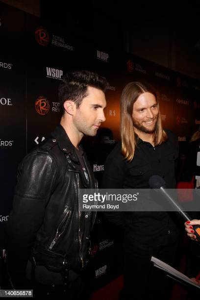 Musicians Adam Levine and James Valentine of Maroon 5 are interviewed on the red carpet for the Escape To Total Rewards concert at Union Station in...
