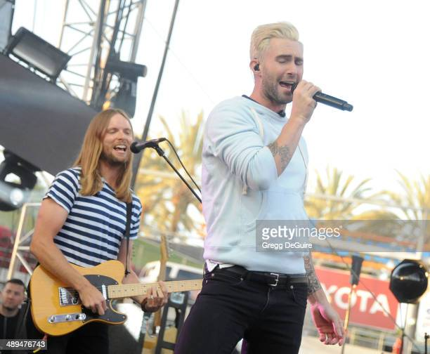 Musicians Adam Levine and James Valentine of Maroon 5 perform at 1027 KIIS FM's 2014 Wango Tango at StubHub Center on May 10 2014 in Los Angeles...