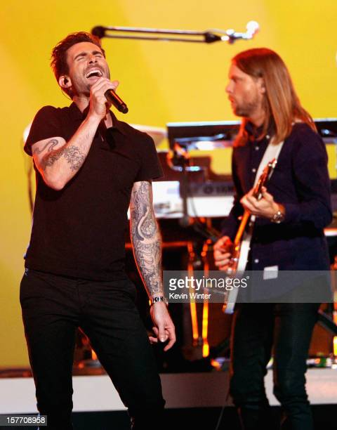 Musicians Adam Levine and James Valentine of Maroon 5 perform at The GRAMMY Nominations Concert Live post concert held at Bridgestone Arena on...