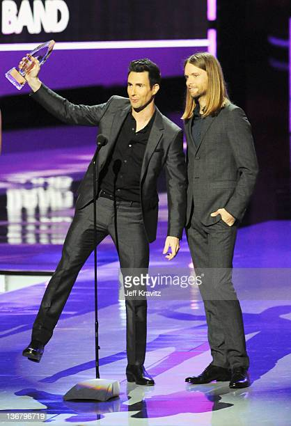 Musicians Adam Levine and James Valentine of Maroon 5 speak onstage at the 2012 People's Choice Awards at Nokia Theatre LA Live on January 11 2012 in...