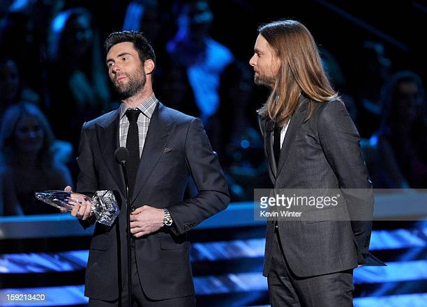 Musicians Adam Levine and James Valentine of Maroon 5 winner of Favorite Band speak onstage at the 39th Annual People's Choice Awards at Nokia...