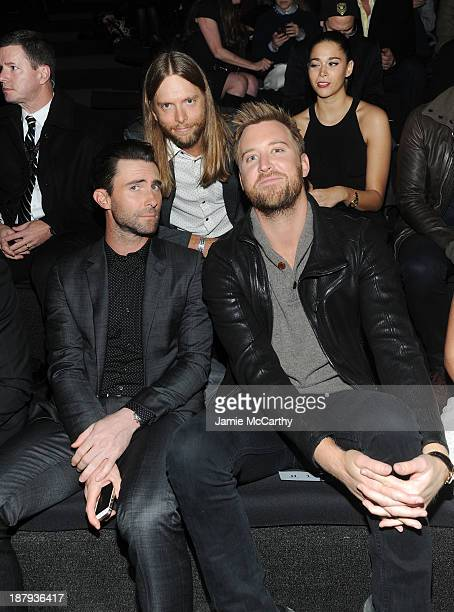 Musicians Adam Levine James Valentine and Charles Kelley attend the 2013 Victoria's Secret Fashion Show at Lexington Avenue Armory on November 13...