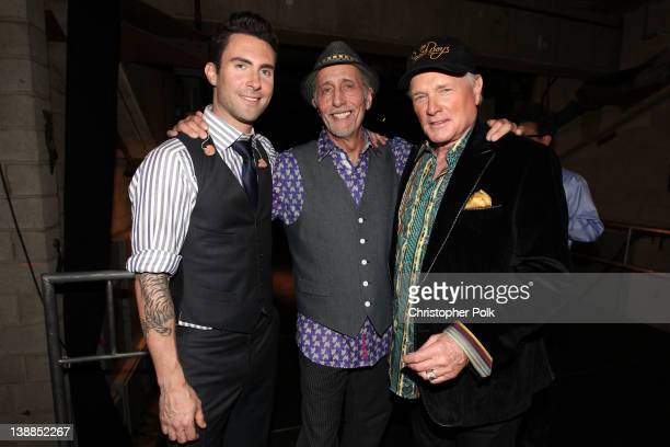 Musicians Adam Levine of Maroon 5 and David Marks and Mike Love of The Beach Boys attend The 54th Annual GRAMMY Awards Media Center at Staples Center...