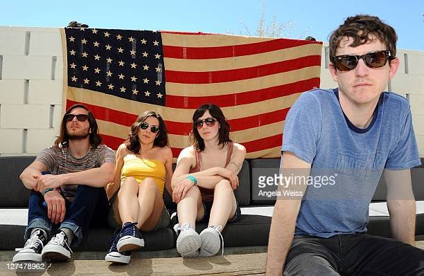 Musicians Adam Thompson Sarah Riddle Johanna Kunin and Tim Perry of AgesandAges attend the Converse Lounge at Ace Hotel on April 17 2011 in Palm...