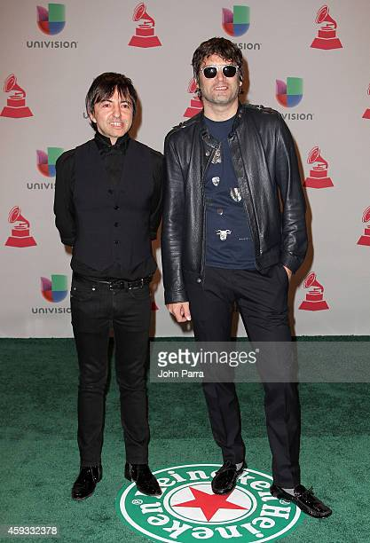 Musicians Adrian Dargelos and musician Mariano Dominguez of Babasonicos attend the 15th annual Latin GRAMMY Awards at the MGM Grand Garden Arena on...
