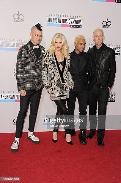Musicians Adrian Young, Gwen Stefani, Tony Kanal and Tom Dumant of No Doubt attend the 40th Anniversary American Music Awards held at Nokia Theatre...