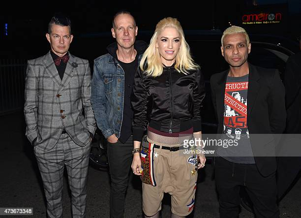 Musicians Adrian Young, Tom Dumont, Gwen Stefani and Tony Kanal of No Doubt attend An Evening with Women benefiting the Los Angeles LGBT Center at...