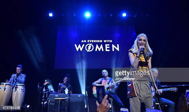 Musicians Adrian Young Tony Kanal Gwen Stefani and Tom Dumont of No Doubt perform at An Evening with Women benefiting the Los Angeles LGBT Center at...