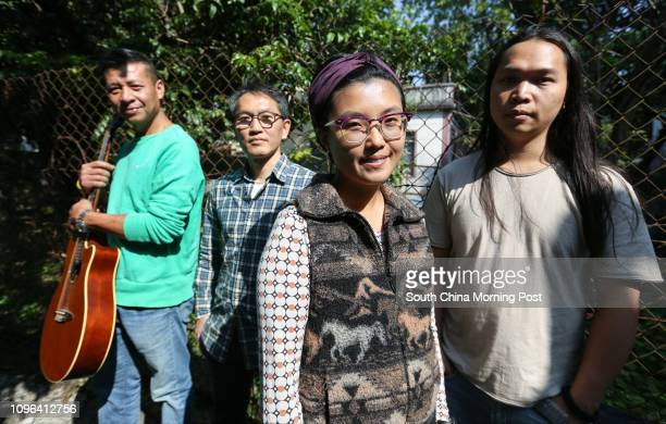 Musicians against NT development Cheung Kwaichoi Hung Fankeung Sze Kayan and Chan Kaipong pose for a photograph in Ping Che Village of Ta Kwu Ling...