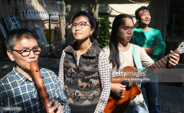 Musicians against NT development Hung Fankeung Sze Kayan Chan Kaipong and Cheung Kwaichoi pose for a photograph in Ping Che Village of Ta Kwu Ling...