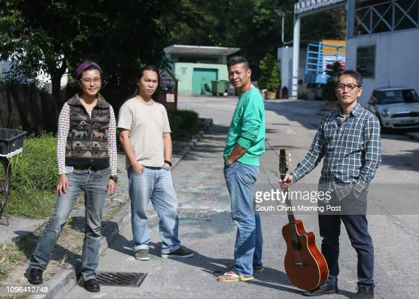 Musicians against NT development Sze Kayan Chan Kaipong Cheung Kwaichoi and Hung Fankeung pose for a photograph in Ping Che Village of Ta Kwu Ling...