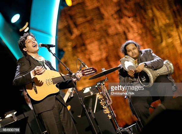 Musicians Ahmad El Haggar and Moez Dawad perform onstage at 2014 MusiCares Person Of The Year Honoring Carole King at Los Angeles Convention Center...