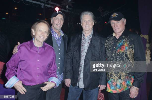 Musicians Al Jardine David Marks Brian Wilson and Mike Love of The Beach Boys at Capitol Records Tower on February 12 2012 in Los Angeles California