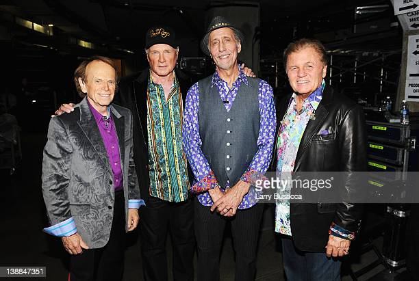 Musicians Al Jardine Mike Love David Marks and Bruce Johnston of The Beach Boys backstage at the 54th Annual GRAMMY Awards held at Staples Center on...
