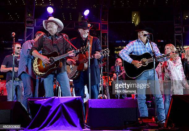 Musicians Alan Jackson Ray Benson of Asleep at the Wheel and George Strait perform All My Ex's Live In Texas Folsom Prison Blues and The Cowboy Rides...