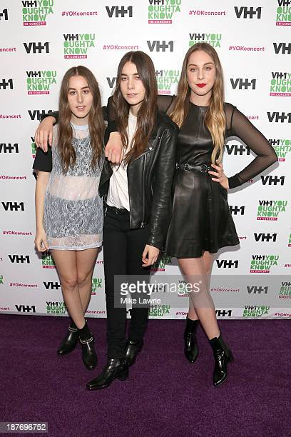 Musicians Alana Haim Danielle Haim and Este Haim of Haim attend VH1 'You Oughta Know In Concert' 2013 on November 11 2013 at Roseland Ballroom in New...