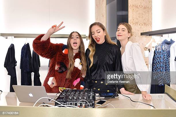Musicians Alana Haim Este Haim and Danielle Haim attend Fendi And Vogue Celebrate Fendi Beverly Hills at Fendi on March 24 2016 in Beverly Hills...
