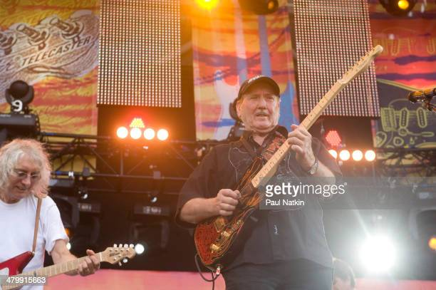 Musicians Albert Lee and James Burton perform onstage at Eric Clapton's Crossroads Guitar Festival, held at Toyota Park, Bridgeview, Illinois, June...