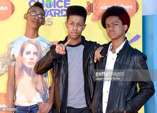 Musicians Alec Atkins Jarad Dawkins and Malcolm Brickhouse of Unlocking the Truth attend Nickelodeon's 28th Annual Kids' Choice Awards held at The...