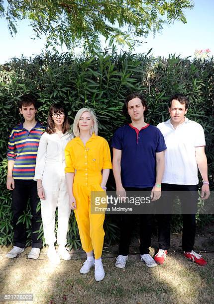 Musicians Alec O'Hanley Kerri MacLellan Molly Rankin Phil MacIsaac and Brian Murphy of Alvvays pose backstage during day 2 of the 2016 Coachella...