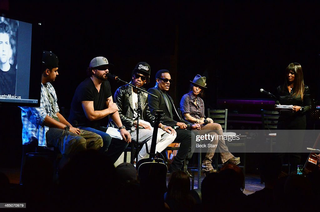 Musicians Alex Da Kid, Dallas Davidson, Wiz Khalifa, Charlie Wilson and Linda Perry attend BMI Presents Annual 'How I Wrote That Song' Pre-Grammy panel discussion at House of Blues Sunset Strip on January 25, 2014 in West Hollywood, California.
