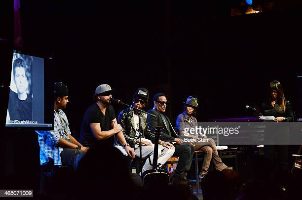 Musicians Alex Da Kid Dallas Davidson Wiz Khalifa Charlie Wilson and Linda Perry attend BMI Presents Annual 'How I Wrote That Song' PreGrammy panel...