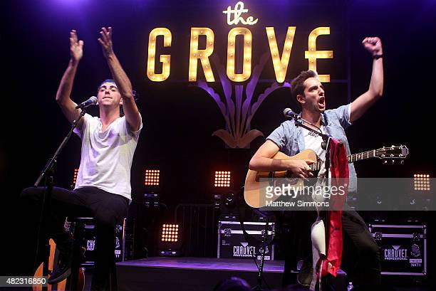 Musicians Alex Gaskarth and Jack Barakat of All Time Low perform onstage at the 2015 Summer Concert Series at the Grove on July 29 2015 in Los...