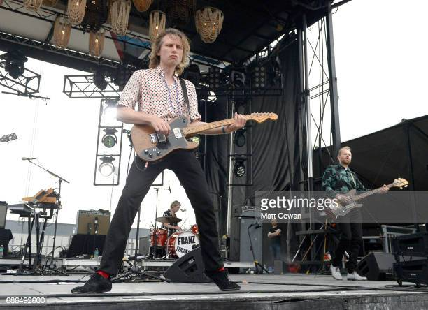 Musicians Alex Kapranos Paul Thomson and Bob Hardy of Franz Ferdinand perform at the Katz's Stage during 2017 Hangout Music Festival on May 21 2017...